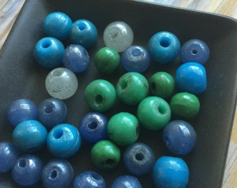 Antique Glass bead lot Periwinkle Blue round Venetian beads YuMmy color Amazing quality