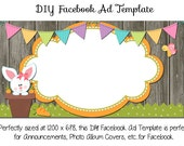 DIY Easter Facebook Ad Graphic ~ Springtime Bunny ~ 1200 x 628 Instant Download Facebook and Etsy Sets Also Available