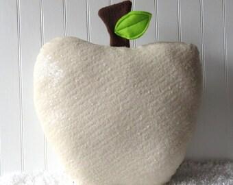 Snow Apple Pillow, Apple Pillow, Sequin Pillow, White Apple, Food Pillow