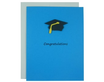 Celestial Blue Graduation Card Congratulations Graduation Hat Graduation Cap Handmade Card for Graduation Gift for Graduation High School