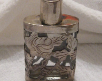 Sterling Silver Mexican Perfume Bottle Dresser Trinket