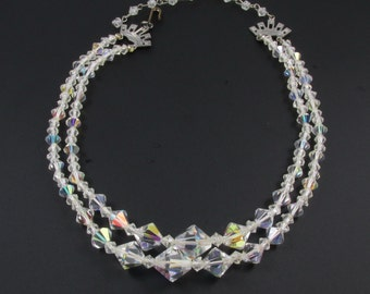 Vintage Crystal Necklace, Crystal and Plastic Bead Necklace, Crystal Bead Choker, Double Strand Necklace