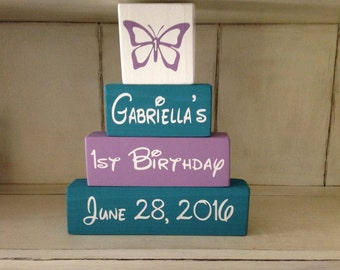 New Butterfly Themed Wooden Sign Stacking Blocks First  Birthday Party Centerpiece Girls Room Nursery Decor