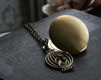 Locket necklace round,  birdcage pendant, round locket necklace,  photo locket necklace, gift for wife, christmas gift,  gift for her - Joy