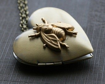 Bee necklace, heart locket necklace, gold heart locket, bee jewelry, long locket necklace, gold locket necklace,  gold locket - Busy Bee