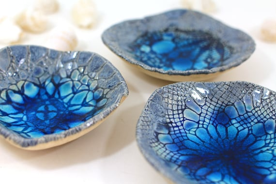 Ceramic bowls, Lace bowl set (3 bowls), House warming gift,  Hostess gift, Home decoration