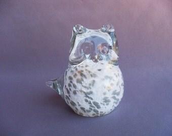 Hand Blown Glass Snowy Owl, Bird Sculpture, Art Glass