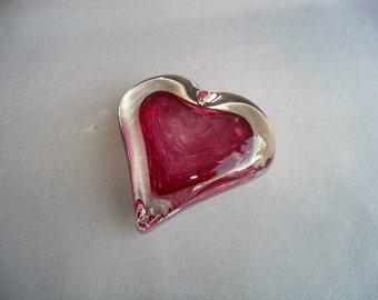Hand Blown Art Glass Color Heart Paperweight