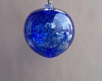 Hand Blown Glass Witch Ball/Ornament/Suncatcher,Art Glass, Colbalt Blue Color - Small Size