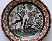 Vintage Jose Bernabe Tonaca Mexico Folk Art Red Clay Pottery Deer Plate Early Design