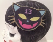 Girls hair clip Black cat glittery fashion accessory gothic kawaii cute quirky sparkly present gift party christmas NYE birthday