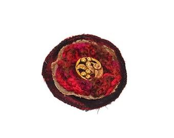 Lapel Pin, scarf pin, hat pin, fabric flower pin, red / burgundy flower brooch, fiber art corsage, OOAK