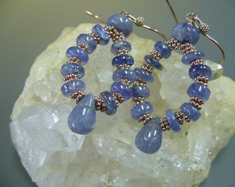 Tanzanite Rose Gold Wire Wrapped Dangle Earrings