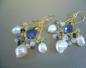 Blue Sapphire Moonstone Pearl Gold Cluster Wire Wrapped Dangle Earrings