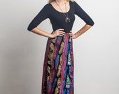 Patchwork Paneled Maxi Dress in Plume, Birds of Prey and Feather Prints