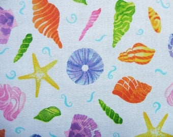 Jewels of the Sea White Sea Shells Beach Quilting Treasures Fabric Yard
