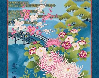 """Mt Fuji Nobu Fujiyama Chrysanthemum Kanji Indigo Kona Bay Asian Fabric 24"""" Panel"""
