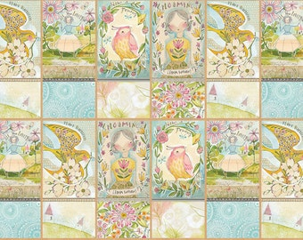 Garden Girls How Does Your Garden Grow Block Blend Cori Dantini Fabric Panel