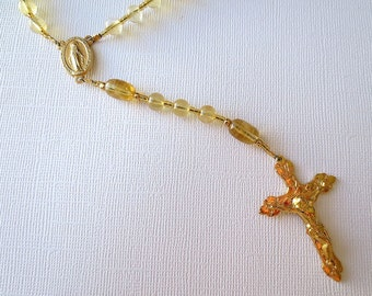 Citrine Catholic Rosary, November Birthstone Rosary with Miraculous Medal Center