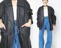 25% off SALE 1980s Oversized Black Leather Jacket Vintage Leather Biker  Jacket Leather Unisex Zippers Punk Rocker Winter Coat Slouchy Cocoo