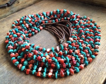 "Vintage 30"" six-strand natural turquoise coral pen shell heishi Santo Domingo necklace, Native American Indian Southwest turquoise jewelry"