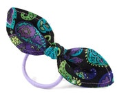 Ponytail Holder Purple Blue & Green Paisley Small and Simple Hair Bow for Teens Tweens Pony Tail Holder Small Gift Summer Hair Accessories