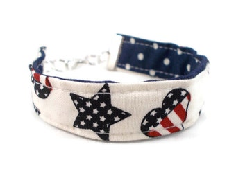 Fabric Bracelet Stars and Stripes Reversible Bracelet Patriotic Jewelry Gift Ideas for Tweens Teens Tween Jewelry Teen Bracelet Hearts