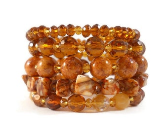 Stone Bracelet Set, Boho Jewelry, Brown Bracelet, Amber Bracelet, Stacked Bracelets, Layered Bracelet, Beaded Bracelet, Coil Bracelet