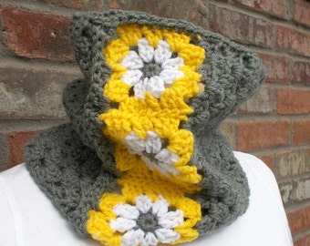 Crochet Cowl Dark Gray with Bright Yellow and White Granny Square Daisies Neck Scarf Neck Warmer Fall and Winter Accessories Knit Cowl
