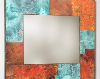 39 x 34 Metal and Copper Mirror
