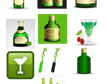 Green Glass A1-Digital Clipart-Banner-Website-Gift Card-Gift Tag-Green Drinks-Gift Card