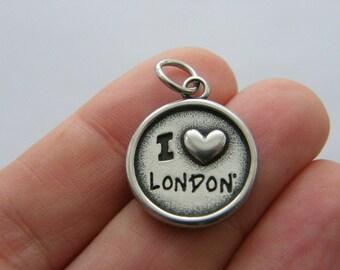 BULK 5 I love London charms dark silver tone stainless steel WT205