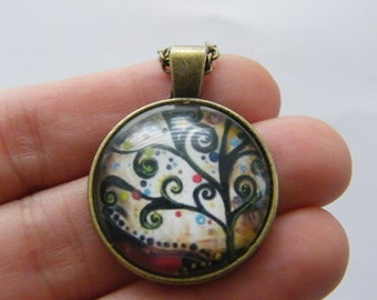 1 Tree of life glass cabochon pendant antique bronze tone NB17