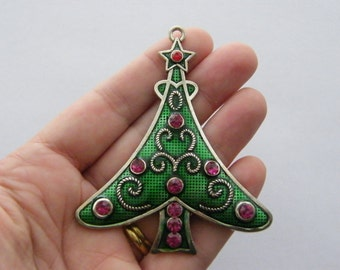 1 Christmas tree pendant 79 x 66mm tibetan silver - dark pink