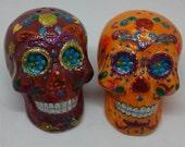 Skull Salt and Pepper Shakers,Sugar Skull,Glitter Skull,Halloween