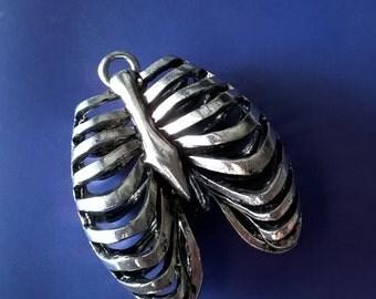 Rib cage pendant antique silver tone,Rib cage,Ribs,Torso Pendant
