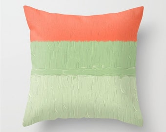 SET of 2 PILLOWS - soft mint green and orange - summery hues, square or lumbar, scatter cushions, pillow covers, made to order home decor