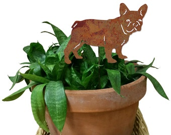 French Bulldog Ornament or Plant Stake / Dog / Metal / Holiday / Christmas / Rusty