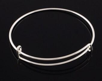 5pcs - Silver plated - Adjustable Bangle Bracelet - 67mm - charm pendant bracelet - Just add a charm