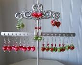 Wholesale VALENTINE Handmade Whimsical and Fun Beaded  Earring Lot Lovely 12 pair Lot v/2