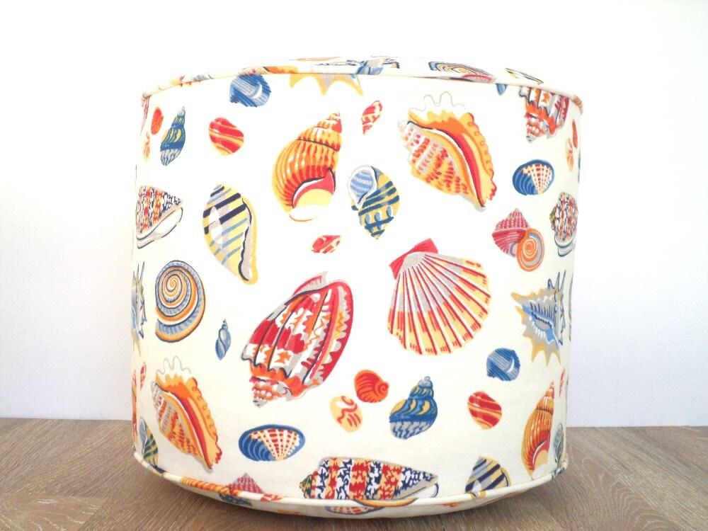 Nautical Round Pouf Ottoman For Beach House Decor Bean Bag