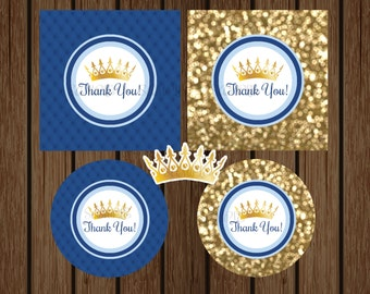 Prince Baby Shower Favor Tag, Prince Birthday Favor Tag, Baby Boy Baby Shower, Blue and Gold, Crown, Instant Download