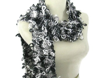 Knit Scarf, Hand Knit Scarf, Gift Idea For Her, Womens Accessory, Fashion Accessory, Fiber Art, Black/White Scarf, Fashion Scarf,