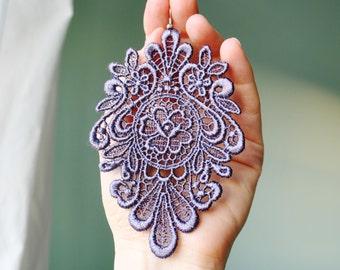 Grey lace earrings/ Long earrings/ Romantic/ Grey earrings/Victorian chic earrings/ Gift idea/ rusteam tt team