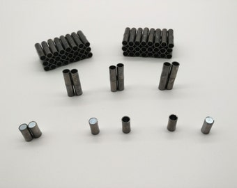 Magnetic Clasp 4 sets 4mm Black Round Hole Leather Cord Ends Cord Clasps Latching Tube Magnetic Clasp Black Metal Clasp