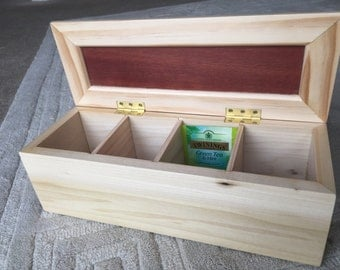 Wooden Tea Box 4 sections made from Poplar and Jarrah