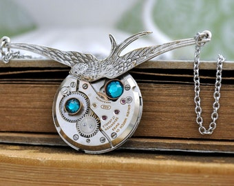 TIME TO Be FREE antique silver steampunk watch movement sparrow necklace with Swarovski rhinestone