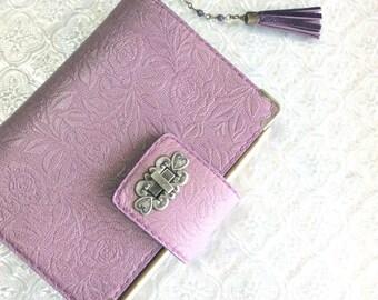 leather binder, mauve pink rose, leather planner, flower planner, planner binder, pink planner, purple planner, rose planner, handstitched