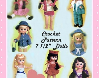 Crochet Pattern - Crochet Wardrobe for 7.5 inch dolls Betsy etc INSTANT DOWNLOAD PDF