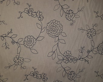 NAVY Blue FLORAL STITCHED Ivory Cotton Upholstery Fabric, 07-47-41-068